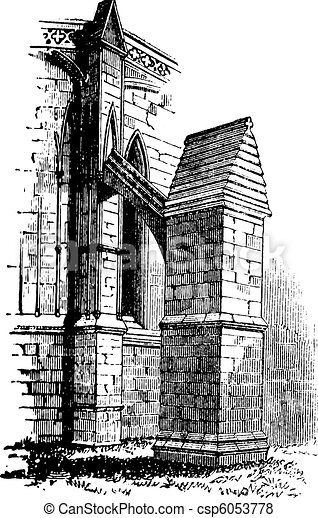 Buttress arch of Lincoln Cathedral chapter, England. Old engraving. - csp6053778