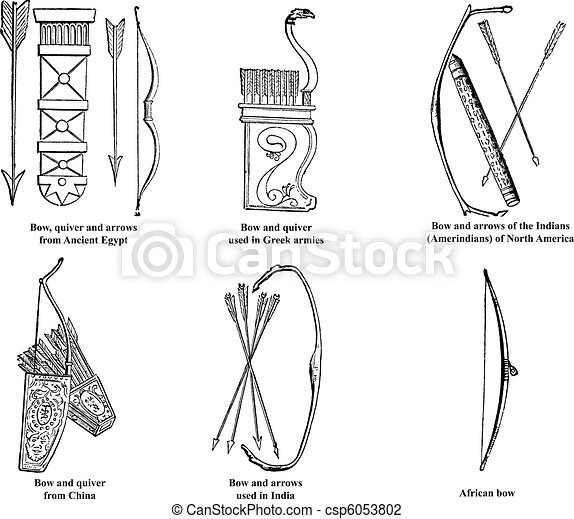 Ancient Egypt, Greek, Chinese, Indian, Amerindian and African bow, arrows and quiver old engraving - csp6053802
