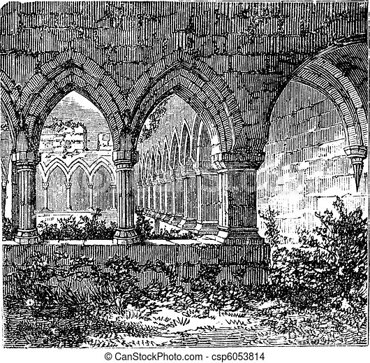 Gothic cloisters and arch at Kilconnel Abbey, in County Galway, Ireland. Old engraving - csp6053814