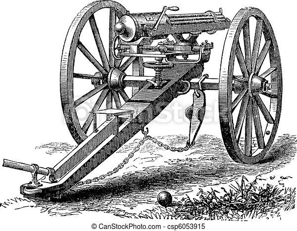 Galting gun vintage engraving. - csp6053915