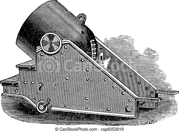 Mortar cannon vintage engraving. - csp6053919