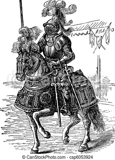 Ironclad full bodied armored horse and rider. Old engraving - csp6053924