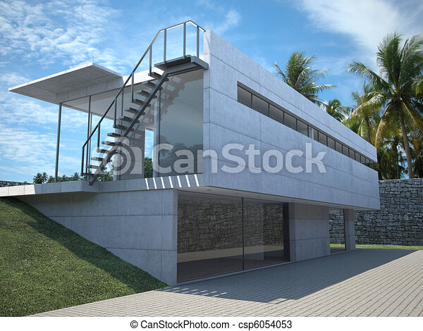 Drawings of modern house exterior exterior view of a for Modern house clipart