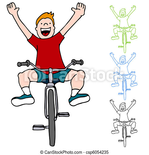 Clipart Vector of Riding Bicycle Without Hands