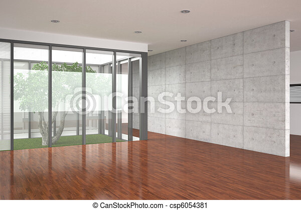 modern empty interior with parquet floor - csp6054381