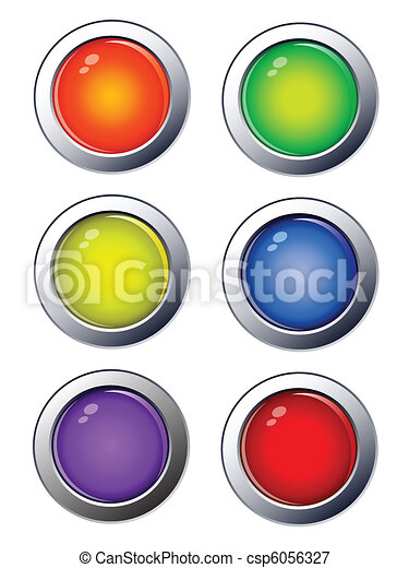 glossy web buttons, icons - csp6056327