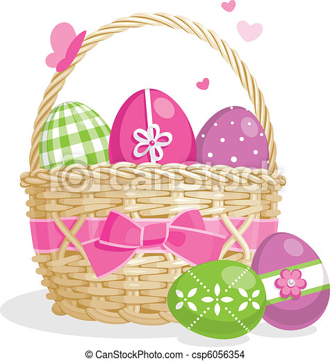 Easter basket illustration - csp6056354