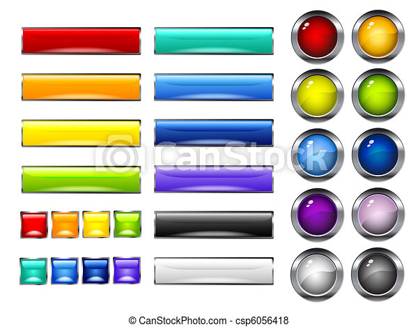 glossy colorful buttons - csp6056418
