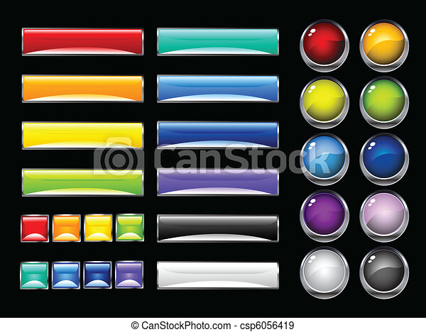 glossy colorful buttons - csp6056419
