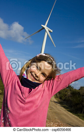 girl with renewable energies - csp6056466