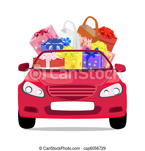 holiday car with gifts - csp6056729