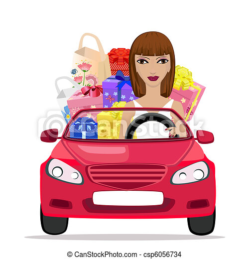 Girl with shopping in the car - csp6056734