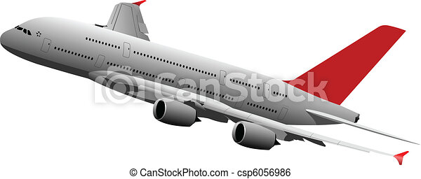 Passenger plane in air. Vector ill - csp6056986