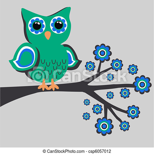 a cute owl sitting on a branch - csp6057012