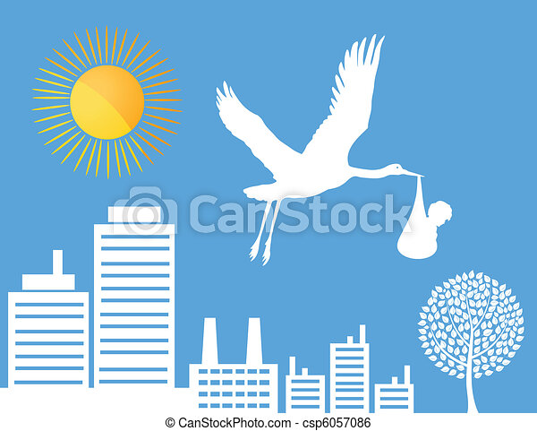 Stork over a city - csp6057086