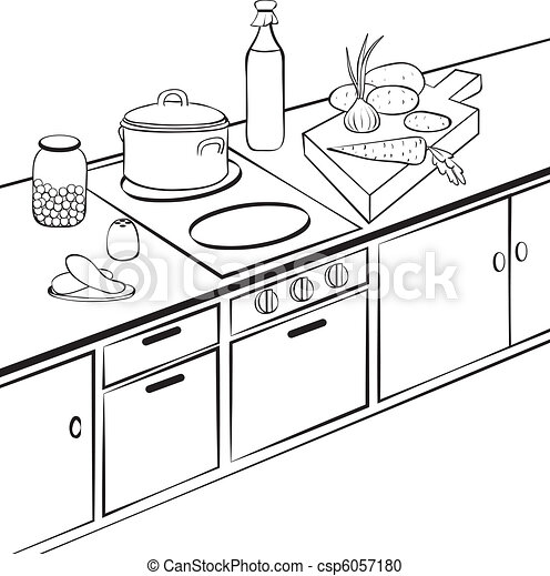 vektor clipart von kueche kitchen cooking b w grobdarstellung abbildung csp6057180. Black Bedroom Furniture Sets. Home Design Ideas