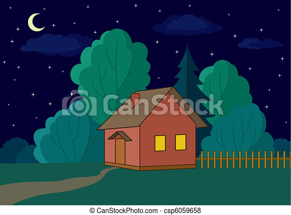 House on forest edge, night - csp6059658