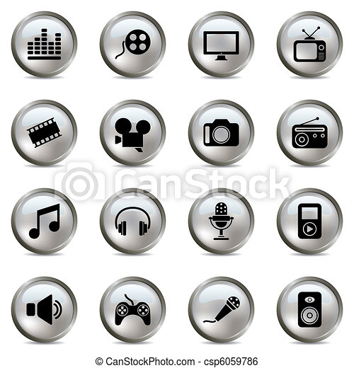 Multimedia silver icons set - csp6059786