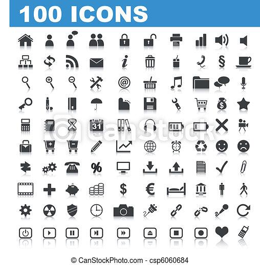 100 Web Icons - csp6060684