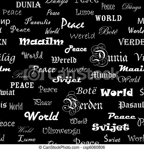 Peace . Seamless wallpaper with the word peace in different languages. - csp6060806