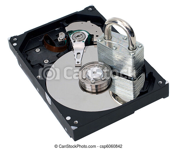 Information Security Padlock on a Hard Drive - csp6060842