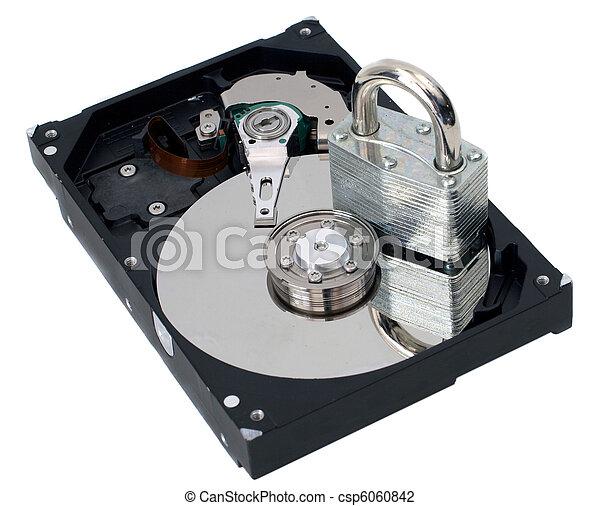 Information Security Padlock on a Hard Drive - csp6060842