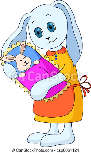 Hare-mother with child - csp6061124