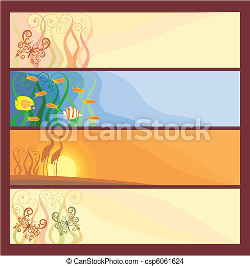 Banners with the flora and fauna - csp6061624