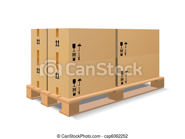 A wooden pallet with boxes - csp6062252