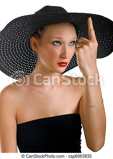 Ridiculous women in black hat - csp6063835