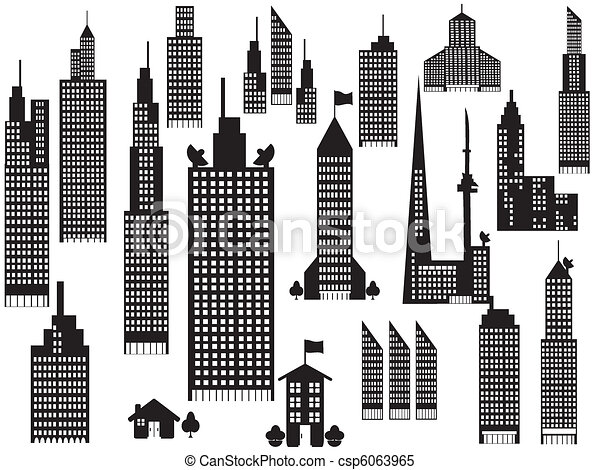silhouette of perspective city buildings  - csp6063965