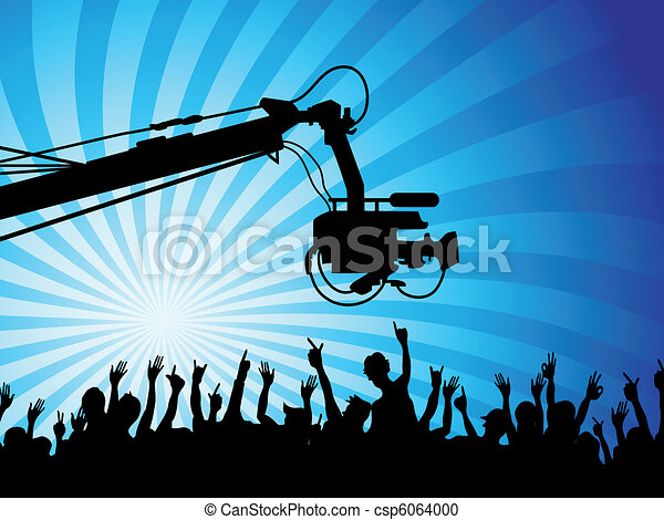 tv camera with crowds - csp6064000