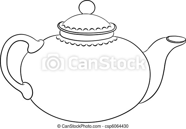 Teapot, contour - csp6064430