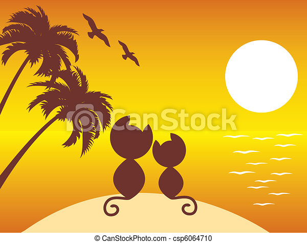 two cats in love under palms - csp6064710