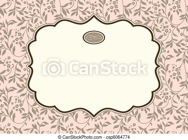 Vector Pastel Ivy Background and Ornate Frame - csp6064774