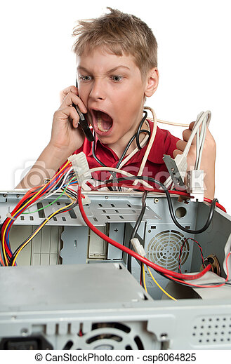 Repair your computer. A young man calls to technical support. - csp6064825