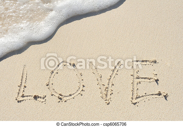 Love Written in Sand on Beach - csp6065706