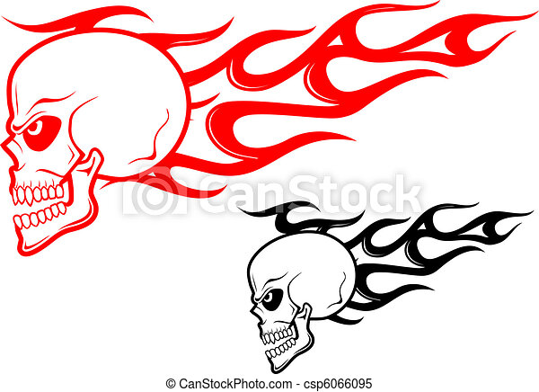 Danger skull with flames - csp6066095