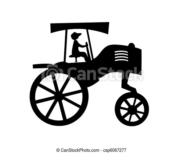 vector silhouette of the old tractor on white background - csp6067277