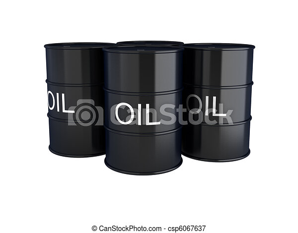 3d render of black oil barrels on white - csp6067637