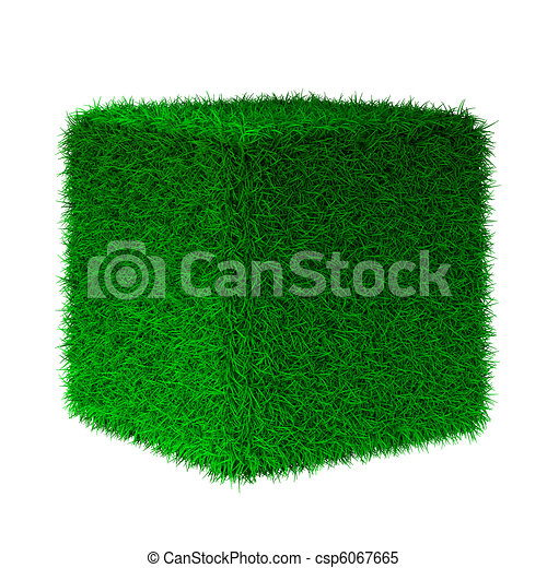 3d render of grass cube - csp6067665