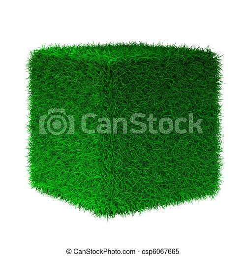 3d render of grass cube - csp6067665