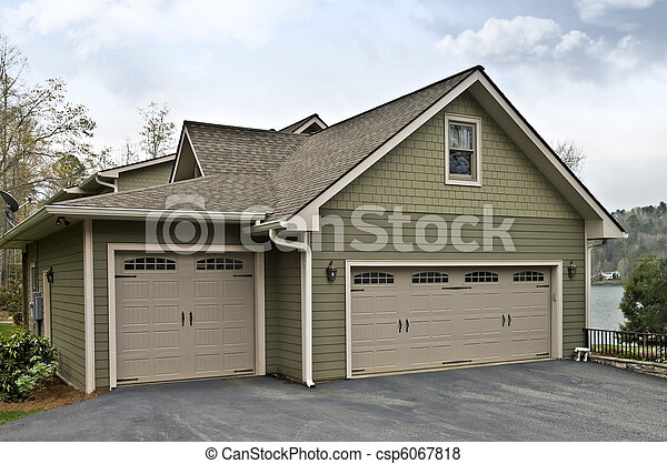 Garage Doors on a House - csp6067818
