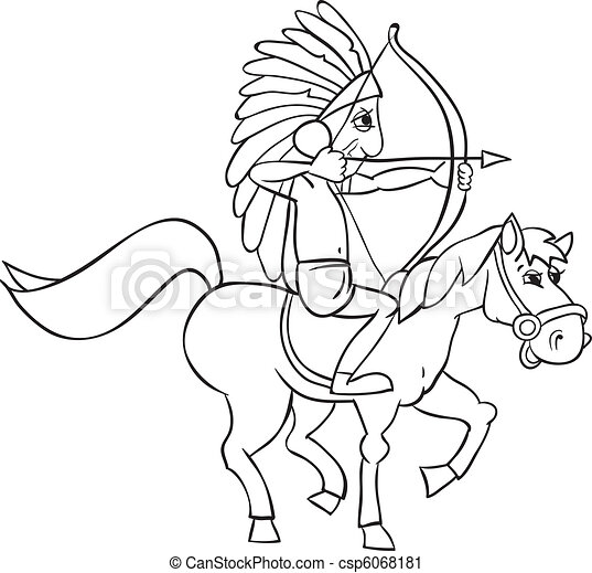 Indian and horse - csp6068181