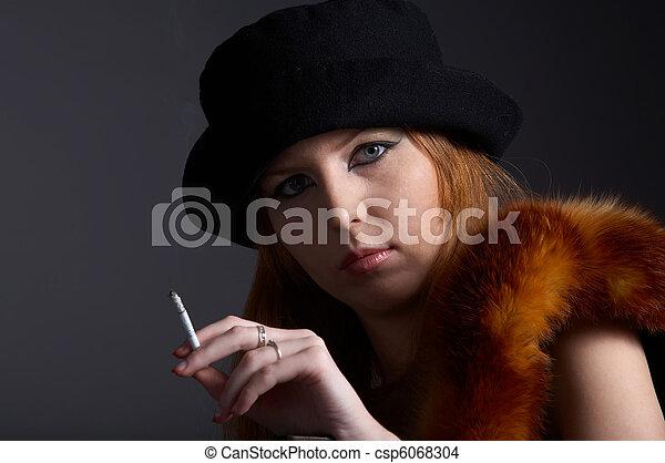 smoking model in fur