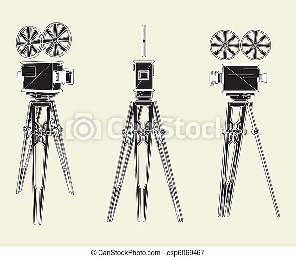 Antique Movie Stand Camera - csp6069467
