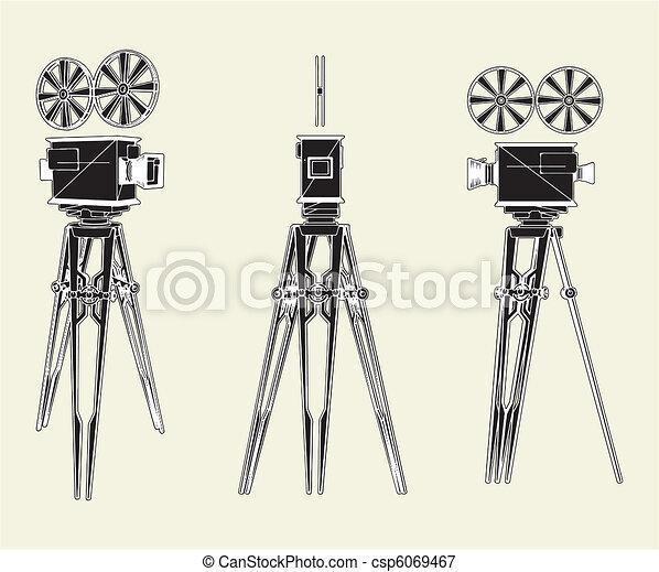 Antique Movie Stand Camera  - csp6069467