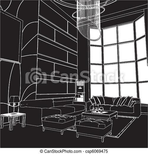 Modern Living Room Interior - csp6069475