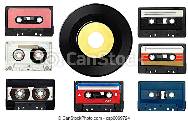 music audio tape and vinyl disc vintage - csp6069724