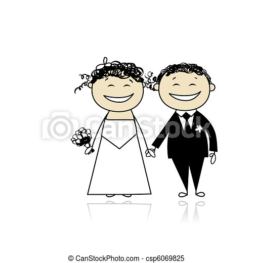 Wedding ceremony - bride and groom together for your design  - csp6069825